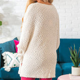 Fuzzy Bat Sleeve Chunky Knit Oversized Sweater
