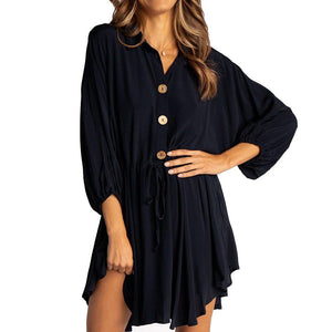 Bat Sleeve Flare Mini Dress