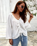 Drop Shoulder Drawstring Ruched Loose Top