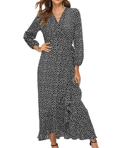 Polka Dot Wrap Maxi Dress