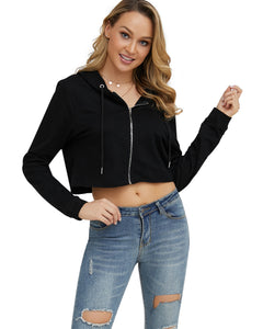 Zip Up Crop Top Hoodie
