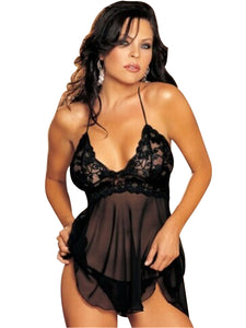 Deep V-Neck Lace G-string Bodydoll Lingerie
