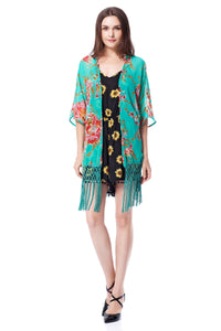 Cardigan Chiffon Floral Tassels Cover Up