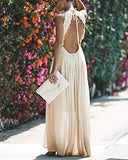 Halter Lace Crochet Backless Maxi Dress