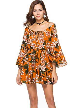Off Shoulder Flare Sleeve Floral Print Mini Dress