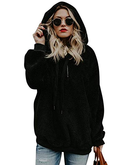 Oversized Sherpa Hooded Sweatshirt