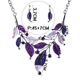 Rhinestone Leaves Chain Necklace & Earring Sets
