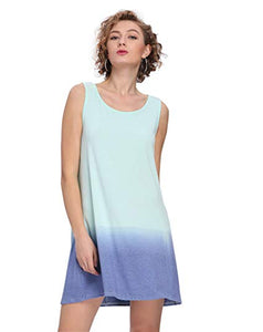 Sleeveless Gradient Tie Dye Tank Dress