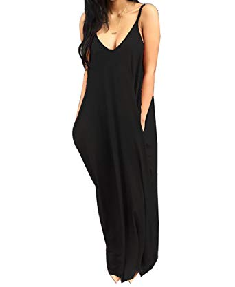 Spaghetti Strap Backless Loose Maxi Dress