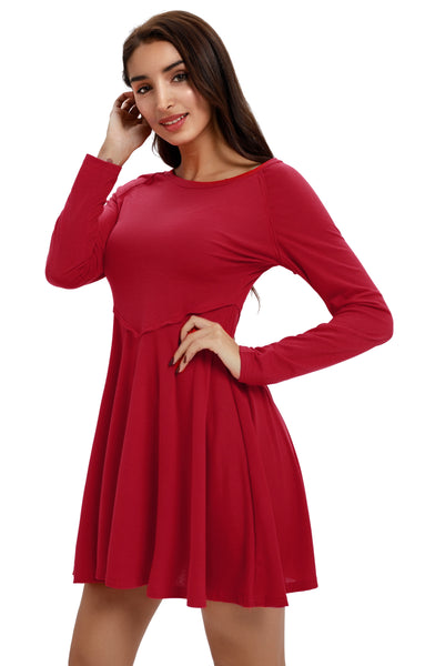 Long Sleeve Loose Swing Tunic Skater Dress