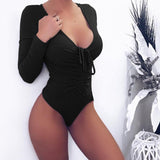 Drawstring Ribbed Bodysuit