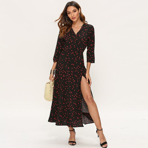 Polka Dot Wrap Split Maxi Dress