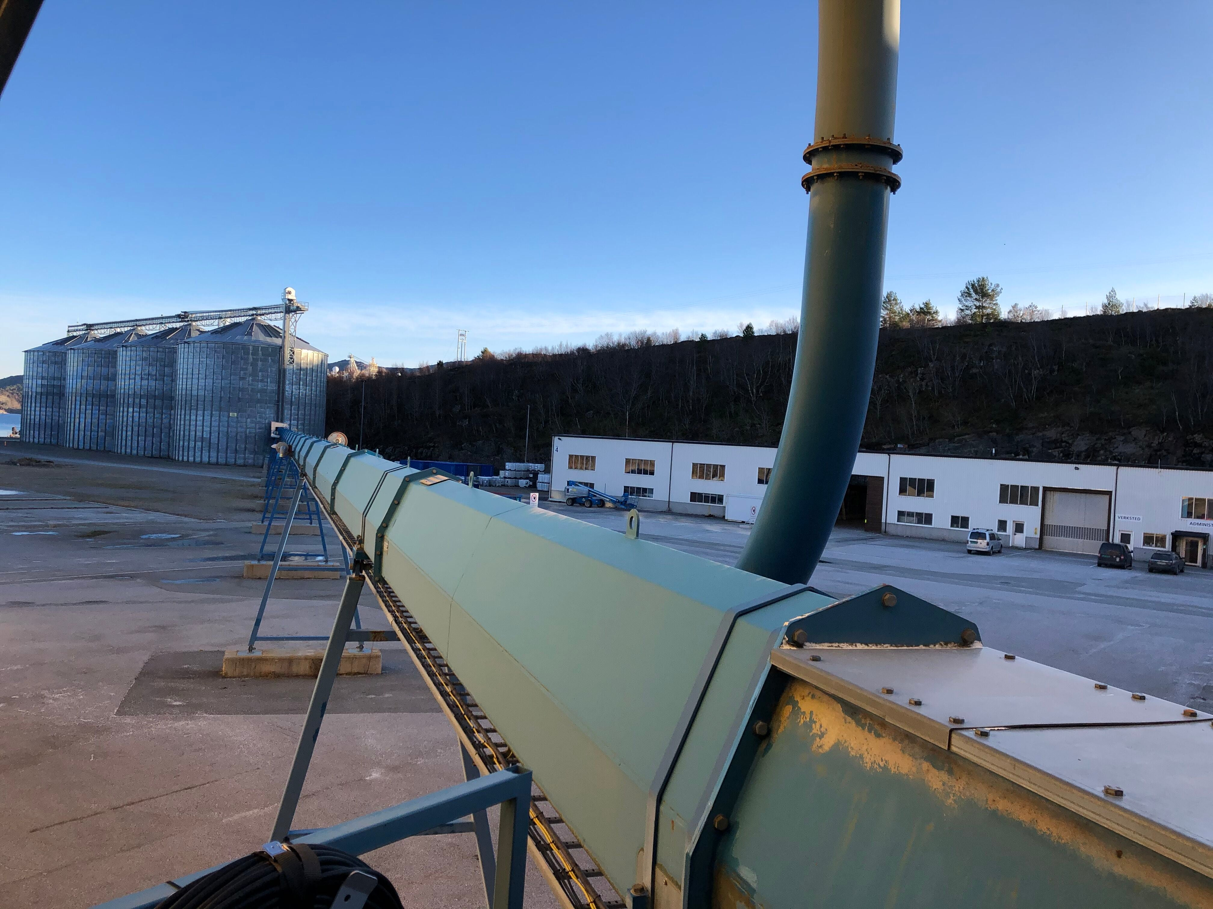 Used Grain / Pellet silos with belt conveyors and boat loading - Swedabo