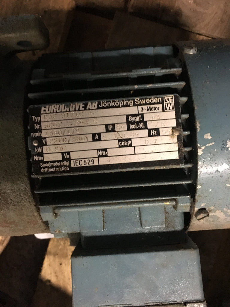Used electric motor with reducer 0,25 kW 1380 rpm - Swedabo