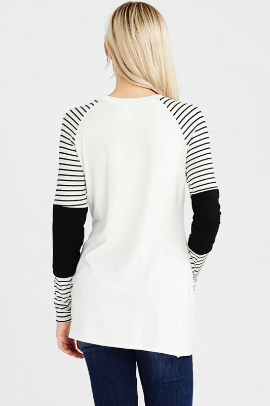 Keep The FAITH Eph6:16 - White/Black, Varsity Long Sleeve Knot Top Top SONflower Gal CF®