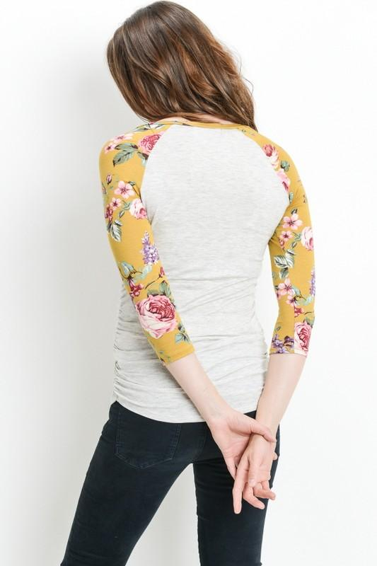 eb1060a7fdbe3 Love Story - Mustard Floral Long Sleeve Light Knit Fitted Maternity Top -  Heather Gray Body