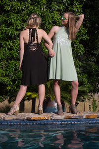 2-IN-1 • SONshine (John 3:15) • Sage Color, Swimsuit CoverUp or Casual Dress - Halter Neck & Crochet Tie Bow Dress/Top SONflower Gal CF®