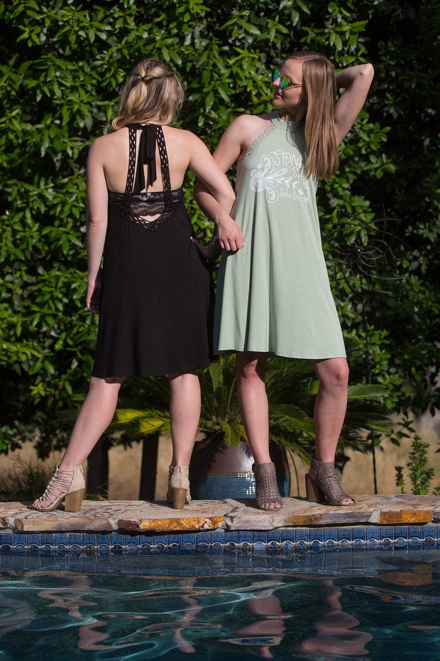 2-IN-1 • SONshine (John 3:15) • Sage Color, Swimsuit CoverUp or Casual Dress -  Halter Neck & Crochet Tie Bow