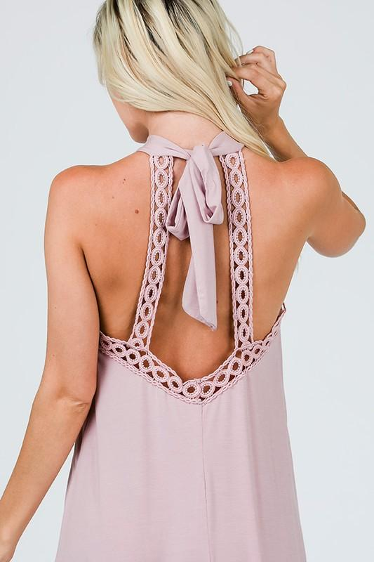 2-IN-1 • LOVE (1Cor:13) • Blush Color - Swimsuit CoverUp or Casual Dress -  Halter Neck & Crochet Tie Bow