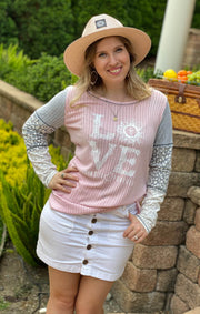 LOVE (John 3:16 Forever) - Blush Knit Top - Contrast Block Sleeve