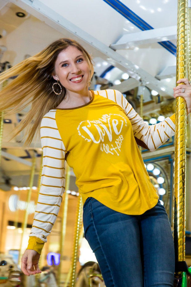 Faith, Hope, LOVE - Long Sleeve Knit Tunic Top -  Stripe Sleeve. Suede Elbow Patch
