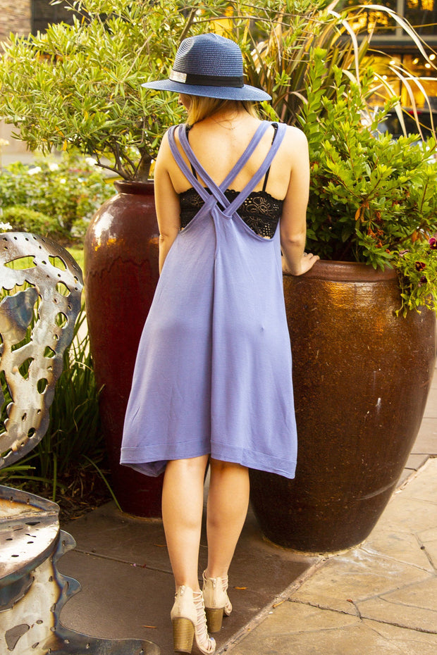 Worship, Pray, Love Psalm 100 -  Dusty Blue Cover-Up/Dress Criss Cross Back
