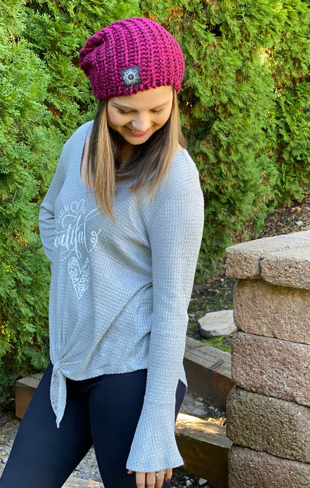 BEAUTIFUL HEART (Psalm 9:1) - Gray Waffle Knit Bell Sleeve Top - Bottom Tie Knot Top SONflower Gal CF®