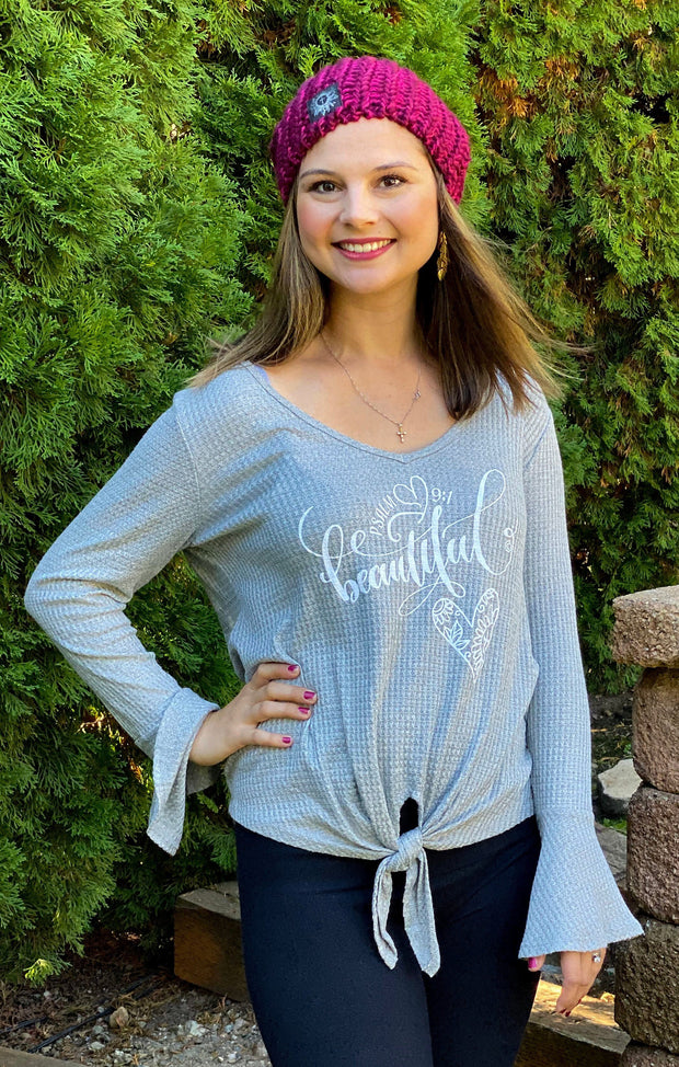 BEAUTIFUL HEART (Psalm 9:1) - Gray Waffle Knit Bell Sleeve Top - Bottom Tie Knot