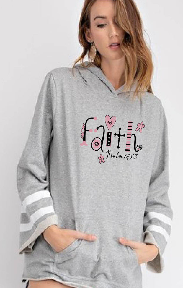 FAITH (Whimsical) - Varsity Bell Sleeve Hoodie with Stripes - Gray Heather Body Color