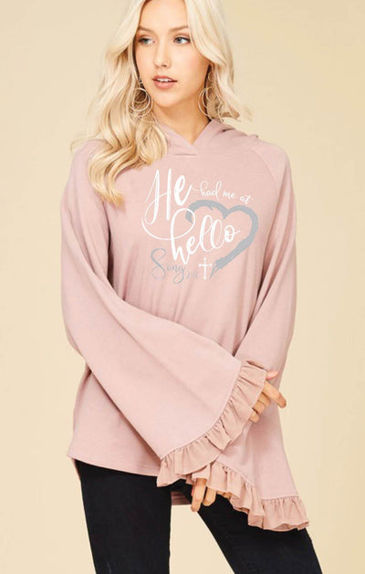 He Had Me At Hello - Bell Sleeve Hooded Sweatshirt
