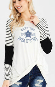 Keep The FAITH Eph6:16 - White/Black, Varsity Long Sleeve Knot Top Top SONflower Gal CF® Small White and Black