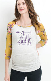 LOVE Story John 3:16 - Mustard Floral Long Sleeve Light Knit Fitted Maternity Top - Heather Gray Body