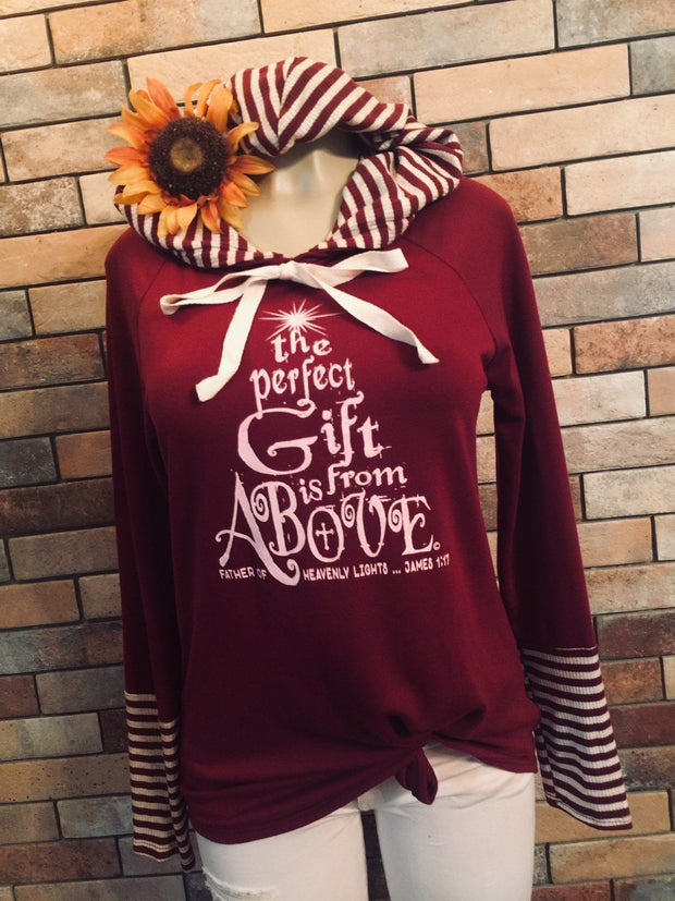 The Perfect Gift Is From Above - Christmas Holiday Stripe Hoodie Sweatshirt/Tunic