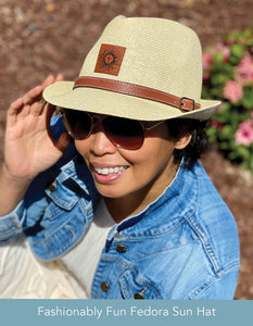Fun Fedora Hat - Natural w/Leather Patch & Belt Detail