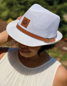 Fun Fedora Hat - White w/Leather Patch & Belt Detail
