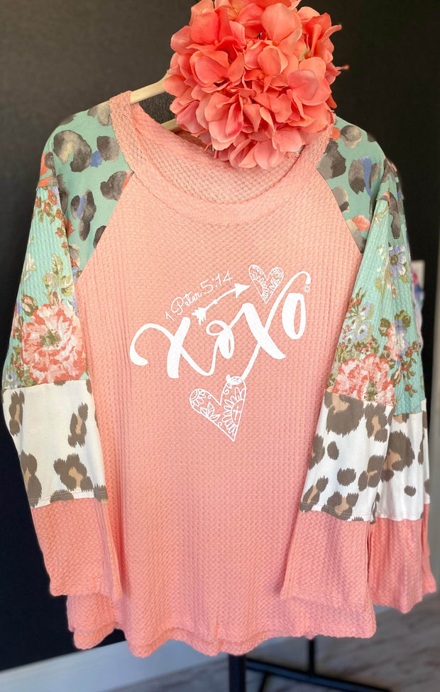 XOXO (1Peter 5:14) - Coral Waffle Style Knit Top - Contrast Block Sleeve
