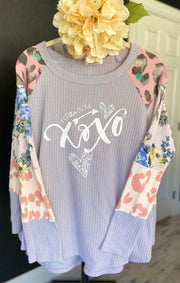 XOXO (1Peter 5:14) - Lavender Waffle Style Knit Top - Contrast Block Sleeve