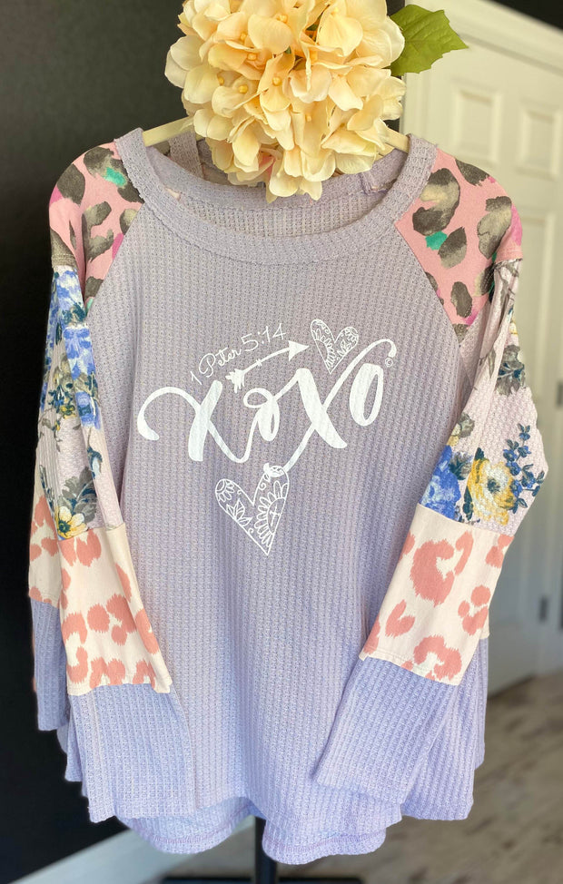 XOXO (1Peter 5:14) - Lavender Waffle Style Knit Top - Contrast Block Sleeve Top SONflower Gal CF®