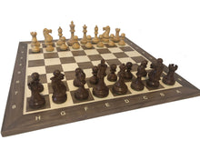 Load image into Gallery viewer, Executive Chess Set on Walnut-Maple Board with coordinates