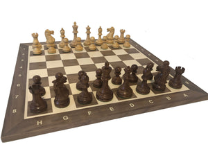 Executive Chess Set on Walnut-Maple Board with coordinates