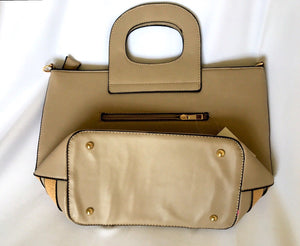 "Womens Handbag tote Purse 15''x15''x6"" Beautiful Khaki And Camel Stripes color"