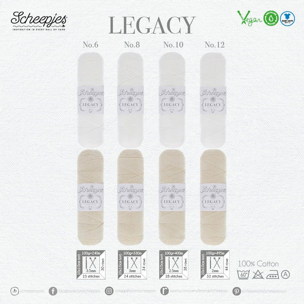 AVAILABLE NOW - Scheepjes Legacy Natural 100gm - WHITE no.06