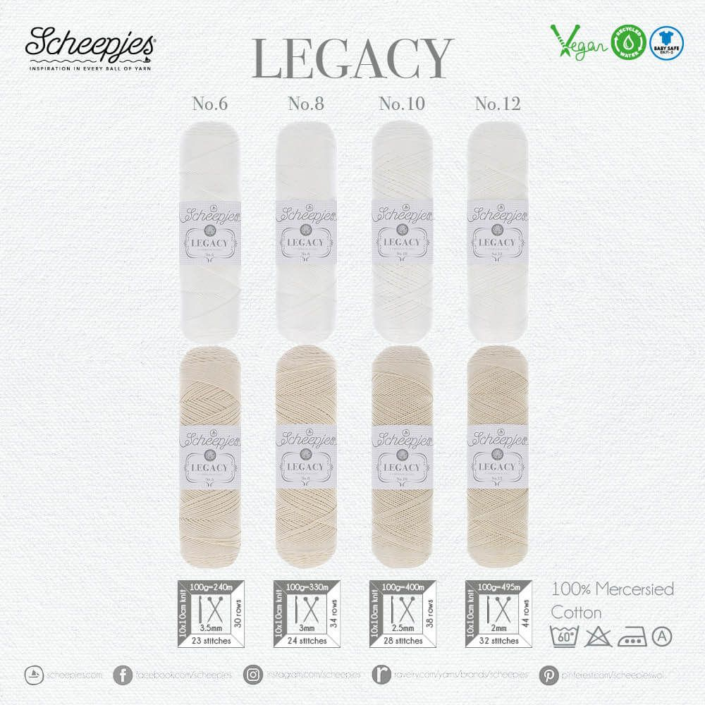 AVAILABLE NOW - Scheepjes Legacy MERCERISED 100gm - WHITE no.06