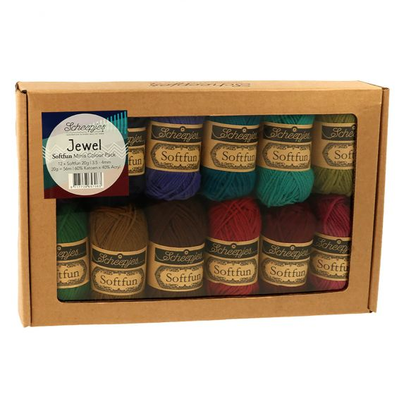NOW AVAILABLE - Scheepjes Softfun Mini Colour Pack 12 x 20gm balls - JEWEL