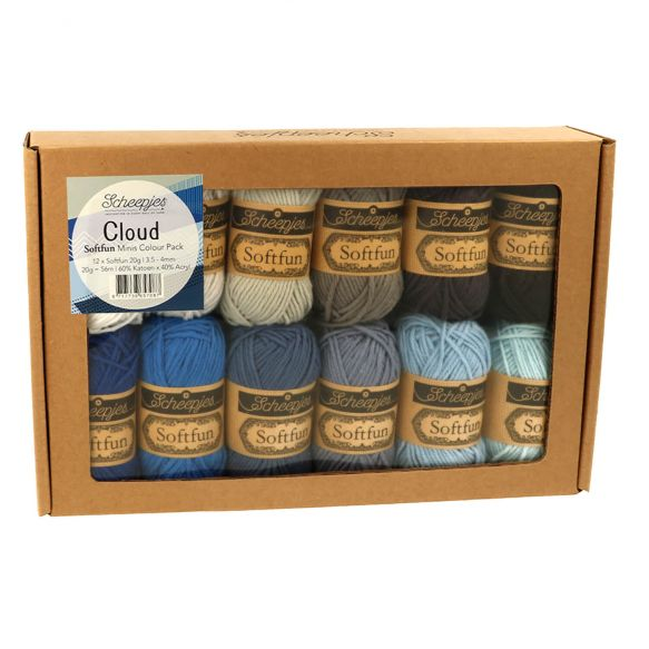 NOW AVAILABLE - Scheepjes Softfun Mini Colour Pack 12 x 20gm balls - CLOUD