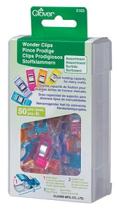 Clover Wonder Clips - Pack of 50 Assorted Colours