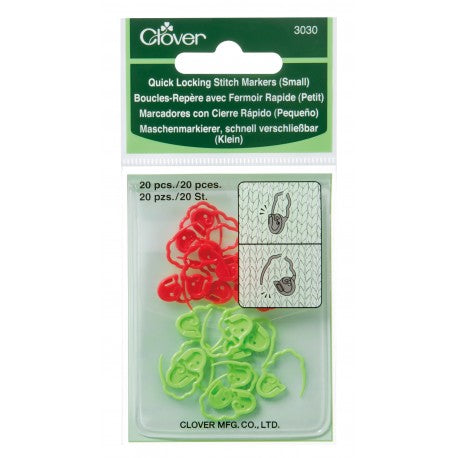 Clover Stitch Markers - Quick Locking Small 20 pieces