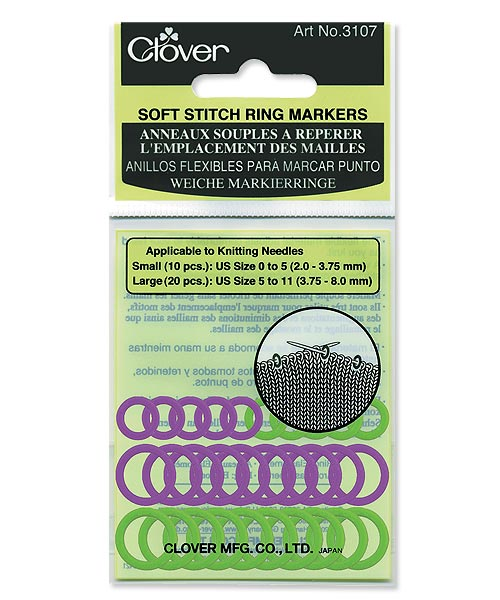 Clover Soft Knitting Stitch Ring Markers - Small/Large