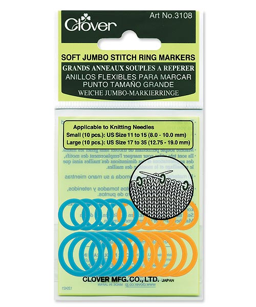 Clover Soft Knitting Stitch Ring Markers - Jumbo