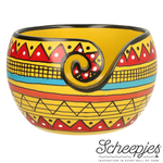 Scheepjes Yarn Bowl - Mango Wood Yellow Strip